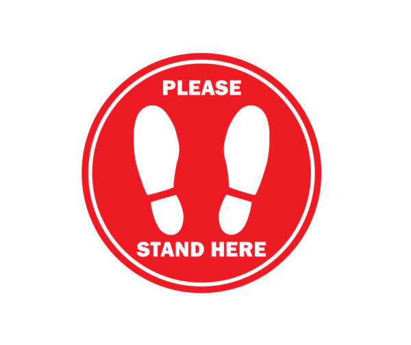 red floor spacing label stand here